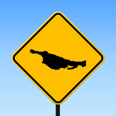 Little San Salvador Island map on road sign. Square poster with Little San Salvador Island island map on yellow rhomb road sign. Vector illustration.