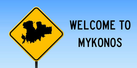 Mykonos map on road sign. Wide poster with Mykonos island map on yellow rhomb road sign. Vector illustration.