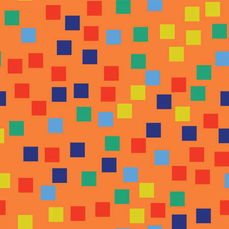 Abstract squares pattern. Orange geometric background. Magnificent random squares. Geometric chaotic decor. Vector illustration.  イラスト・ベクター素材