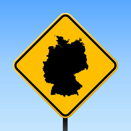 Germany map on road sign. Square poster with Germany country map on yellow rhomb road sign. Vector illustration.