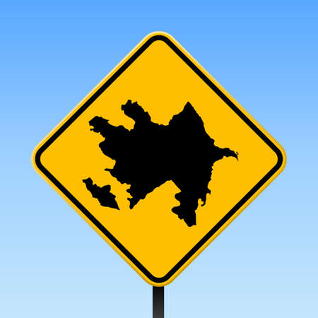 Azerbaijan map on road sign. Square poster with Azerbaijan country map on yellow rhomb road sign. Vector illustration.