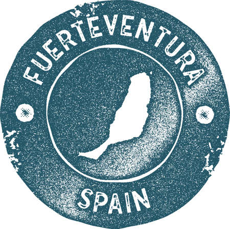 Fuerteventura map vintage stamp. Retro style handmade label, badge or element for travel souvenirs. Blue rubber stamp with island map silhouette. Vector illustration.