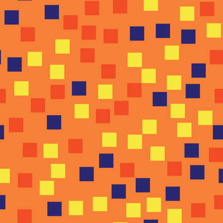 Abstract squares pattern. Orange geometric background. Comely random squares. Geometric chaotic decor. Vector illustration.