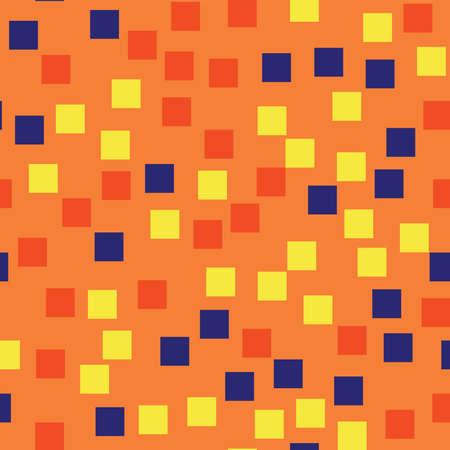 Modello astratto dei quadrati. Sfondo geometrico arancione. Piazze avvenenti casuali. Arredamento caotico geometrico. Illustrazione vettoriale.