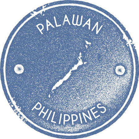 Palawan map vintage stamp. Retro style handmade label, badge or element for travel souvenirs. Light blue rubber stamp with island map silhouette. Vector illustration. Ilustracja