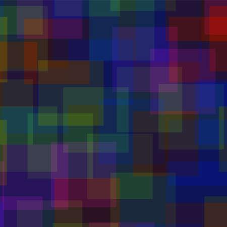 Abstract vierkantenpatroon. Diepblauwe geometrische achtergrond. Aantrekkelijke willekeurige vierkanten. Geometrisch chaotisch decor. Vector illustratie.