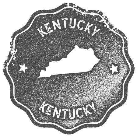 Kentucky map vintage stamp. Retro style handmade label, badge or element for travel souvenirs. Grey rubber stamp with us state map silhouette. Vector illustration. 일러스트