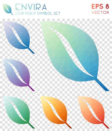 Envira geometric polygonal icons. Appealing mosaic style symbol collection. Vibrant low poly style. Modern design. Envira icons set for infographics or presentation.