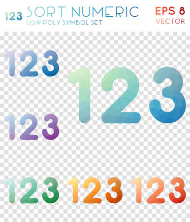 Sort numeric geometric polygonal icons. Bizarre mosaic style symbol collection. Fancy low poly style. Modern design. Sort numeric icons set for infographics or presentation.