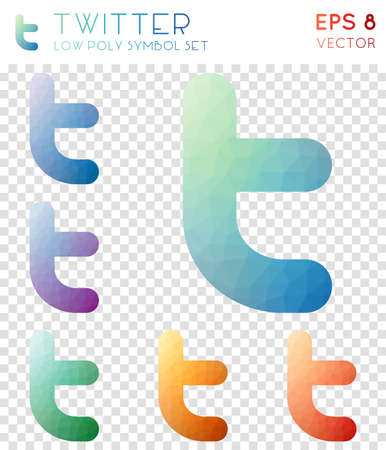 Twitter geometric polygonal icons. Breathtaking mosaic style symbol collection. Cool low poly style. Modern design. Twitter icons set for infographics or presentation.