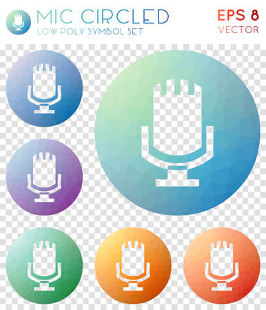 Mic circled geometric polygonal icons. Awesome mosaic style symbol collection. Pleasing low poly style. Modern design. Mic circled icons set for infographics or presentation.