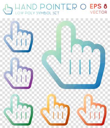Hand pointer o geometric polygonal icons. Astonishing mosaic style symbol collection. Wondrous low poly style. Modern design. Hand pointer o icons set for infographics or presentation. Ilustração