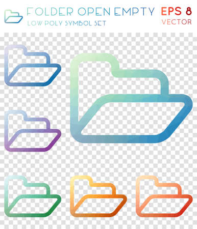 Folder open empty geometric polygonal icons. Astonishing mosaic style symbol collection. Brilliant low poly style. Modern design. Folder open empty icons set for infographics or presentation.