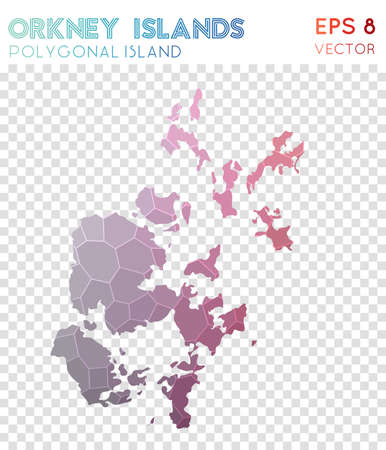 Orkney Islands polygonal map, mosaic style island. Exquisite low poly style, modern design. Orkney Islands polygonal map for infographics or presentation.