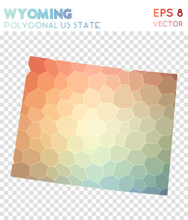 Wyoming polygonal map, mosaic style us state. Cute low poly style, modern design. Wyoming polygonal map for infographics or presentation.
