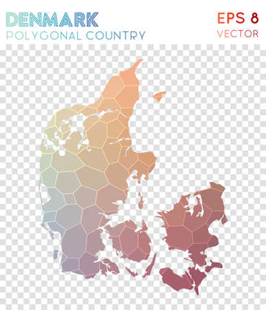 Denmark polygonal map, mosaic style country. Exquisite low poly style, modern design. Denmark polygonal map for infographics or presentation.