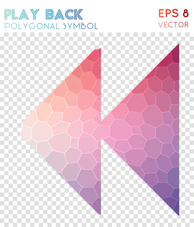 Play polygonal symbol. Actual mosaic style symbol. Shapely low poly style. Modern design. Play icon for infographics or presentation.
