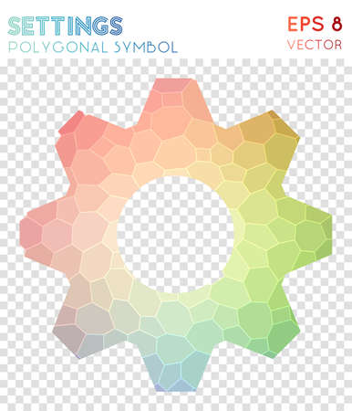 Settings polygonal symbol. Alive mosaic style symbol. Divine low poly style. Modern design. Settings icon for infographics or presentation.