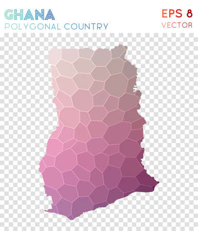Ghana polygonal map, mosaic style country. Graceful low poly style, modern design. Ghana polygonal map for infographics or presentation.