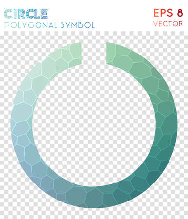 Circle notch polygonal symbol. Adorable mosaic style symbol. Remarkable low poly style. Modern design. Circle notch icon for infographics or presentation.