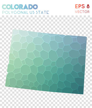 Colorado polygonal map, mosaic style us state. Stylish low poly style, modern design. Colorado polygonal map for infographics or presentation. Illustration