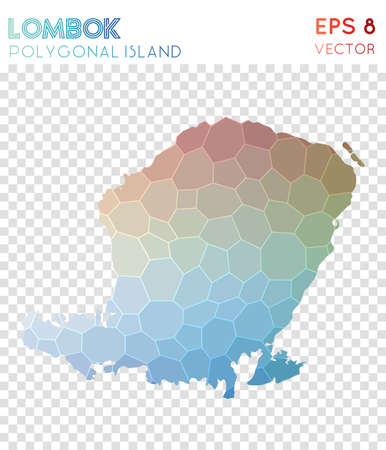 Lombok polygonal map, mosaic style island. Charming low poly style, modern design. Lombok polygonal map for infographics or presentation. Illustration
