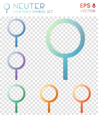 Neuter geometric polygonal icons. Beauteous mosaic style symbol collection. Curious low poly style. Modern design. Neuter icons set for infographics or presentation.