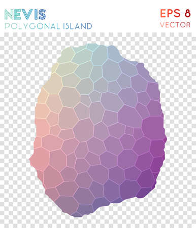 Nevis polygonal map, mosaic style island. Enchanting low poly style, modern design. Nevis polygonal map for infographics or presentation. Illustration