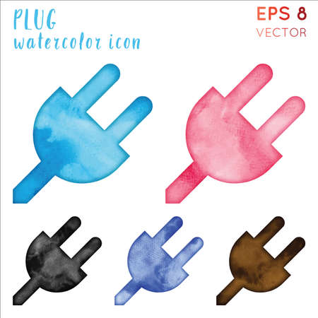 Plug watercolor icon set. Authentic hand drawn style symbol. Favorable watercolor symbol. Modern design for infographics or presentation. Ilustrace