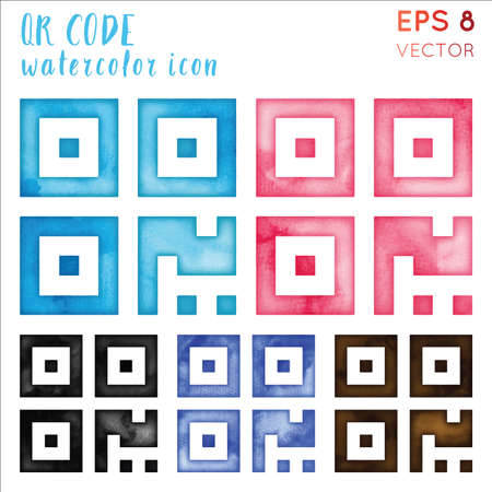 Qr code watercolor icon set. Authentic hand drawn style symbol. Shapely watercolor symbol. Modern design for infographics or presentation.
