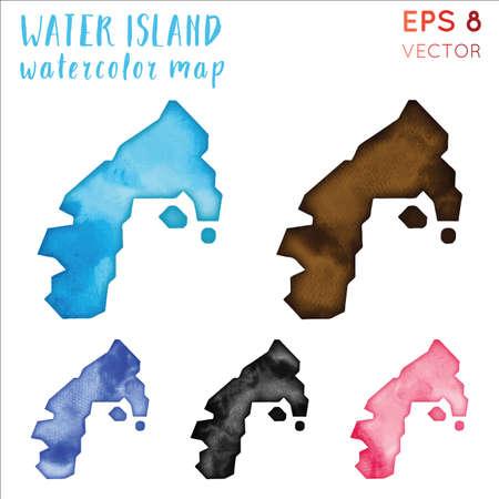 Water Island watercolor island map. Handpainted watercolor Water Island map set. Vector illustration.