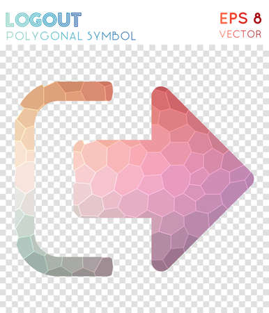 Logout polygonal symbol. Astonishing mosaic style symbol. Extraordinary low poly style. Modern design. Logout icon for infographics or presentation.