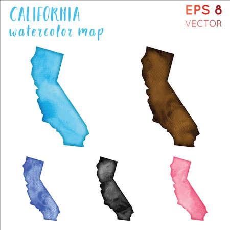 California watercolor us state map. Handpainted watercolor California map set. Vector illustration.