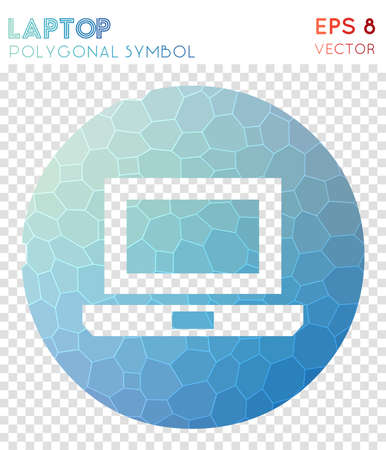 Laptop circled polygonal symbol. Artistic mosaic style symbol. Curious low poly style. Modern design. Laptop circled icon for infographics or presentation.
