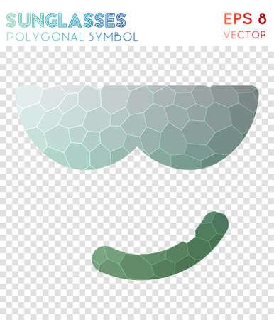 Emo sunglasses polygonal symbol. Amazing mosaic style symbol. Astonishing low poly style. Modern design. Emo sunglasses icon for infographics or presentation.