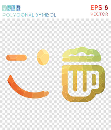 Emo Beer Polygonal Symbol. Alluring Mosaic Style Symbol. Vibrant Low Poly  Style. Modern