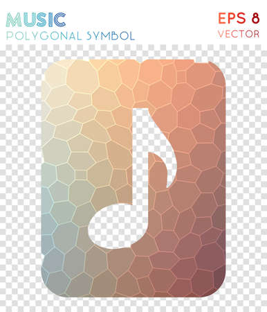 Music polygonal symbol. Attractive mosaic style symbol. Enchanting low poly style. Modern design. Music icon for infographics or presentation.