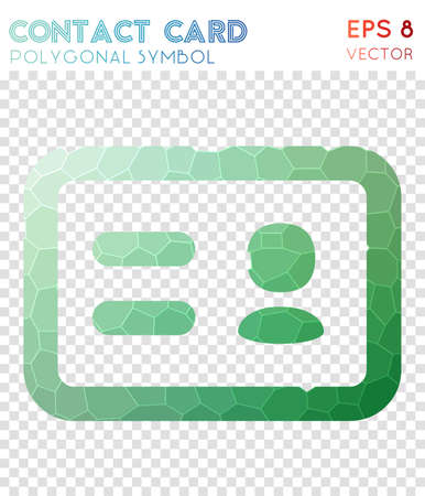 Vcard polygonal symbol. Bizarre mosaic style symbol. Brilliant low poly style. Modern design. Vcard icon for infographics or presentation.