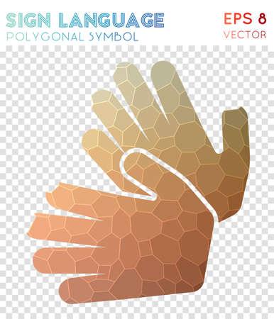 símbolo icono poligonal. símbolo de mosaico de estilo de techo. símbolo de la arqueología estilo vivo. estilo de diseño moderno. signo de infografía o la multitarea