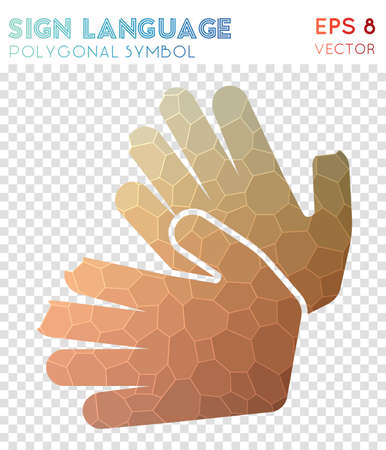 Sign polygonal symbol. Beauteous mosaic style symbol. Charming low poly style. Modern design. Sign icon for infographics or presentation. Vectores