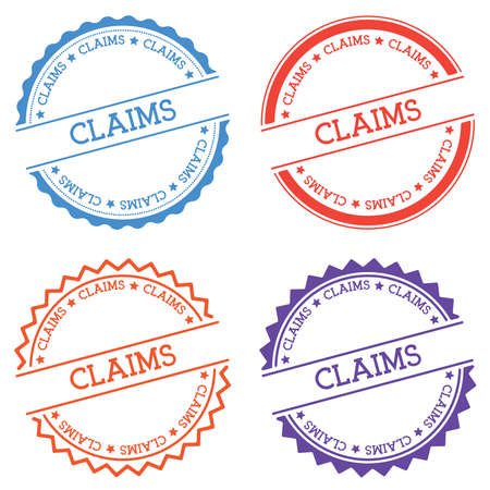 Claims badge isolated on white background. Flat style round label with text. Circular emblem vector illustration. Illustration
