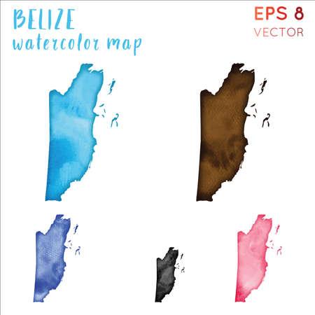 Belize watercolor country map. Handpainted watercolor Belize map set. Vector illustration.