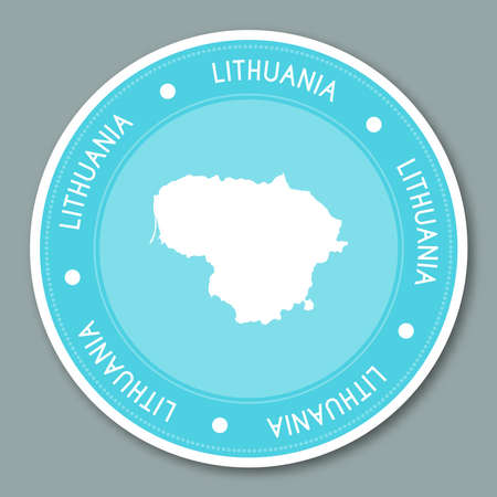 Lithuania label flat sticker design. Patriotic country map round lable. Country sticker vector illustration.