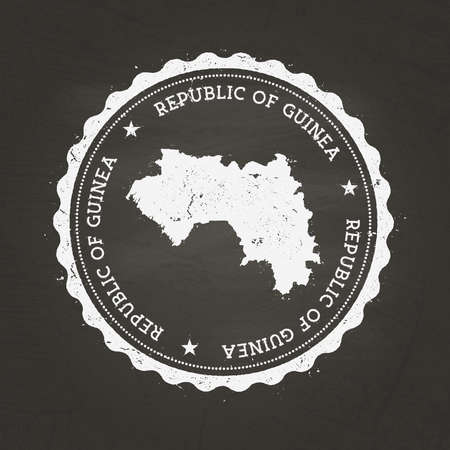 White chalk texture rubber stamp with Republic of Guinea map on a school blackboard. Grunge rubber seal with country map outline, vector illustration.