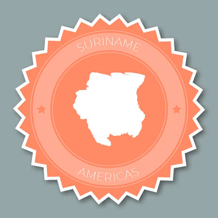 Suriname badge flat design. Round flat style sticker of trendy colors with country map and name. Country badge vector illustration.