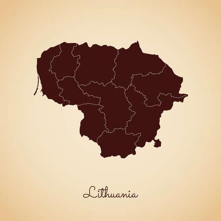 Mapa de la región de Lituania: contorno marrón de estilo retro sobre fondo de papel viejo. Mapa detallado de las regiones de Lituania. Ilustración de vector. Ilustración de vector