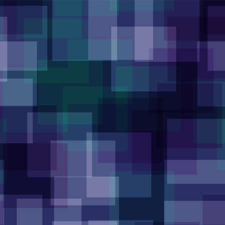 Abstract squares pattern. Deep blue geometric background. Pleasing random squares. Geometric chaotic decor. Vector illustration.