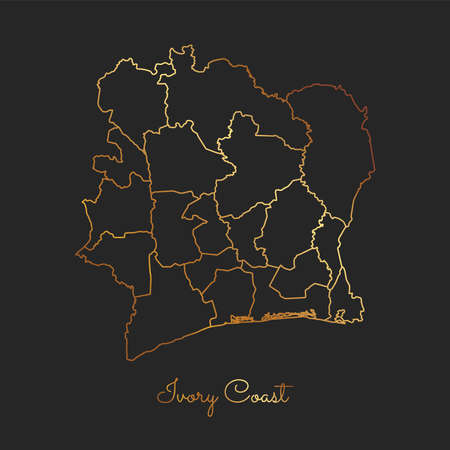 Ivory Coast region map: golden gradient outline on dark background. Detailed map of Ivory Coast regions. Vector illustration.