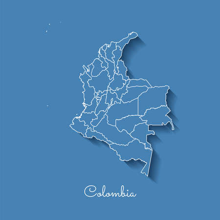 Colombia region map: blue with white outline and shadow on blue background. Detailed map of Colombia regions. Vector illustration. Stock Illustratie
