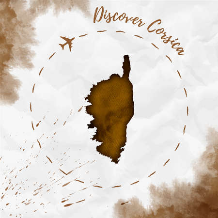 Corsica watercolor island map in sepia colors. Discover Corsica poster with airplane trace and handpainted watercolor Corsica map on crumpled paper. Vector illustration.